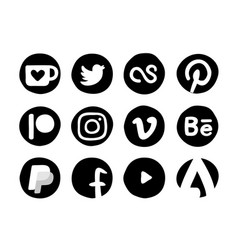 hand drawn social media icons actual object in vector image