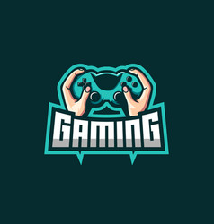 Hand holding jostick awesome logo for gaming squad vector