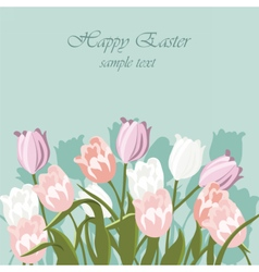 Happy Easter card with tulips vector image