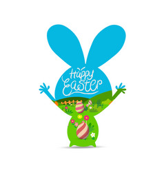 Happy easter with eggs landscape vector
