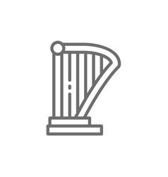 harp lyre music instrument line icon vector image