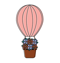 Hot air balloon with flowers icon imag vector