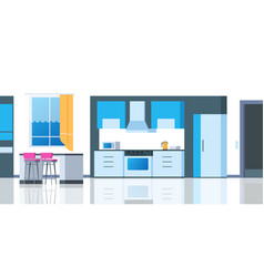 kitchen cartoon interior house flat room vector image
