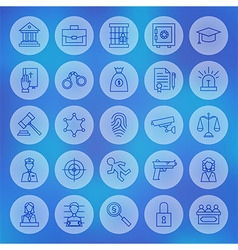 Line Circle Law and Justice Icons Set vector image