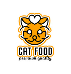 Logo on the theme of food for cats the head of vector