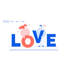 Love romance relationship promotion landing page vector