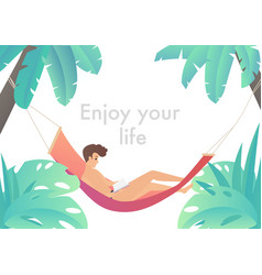 man at beach hammock reading book and relaxing vector image