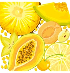 Mix yellow fruits and berries vector