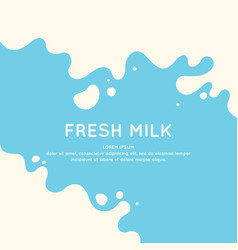 Modern poster fresh milk with splashes on a light vector