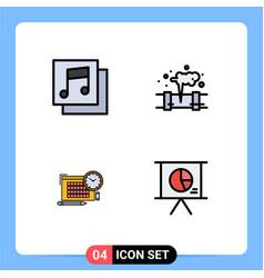 Modern set 4 filledline flat colors pictograph vector