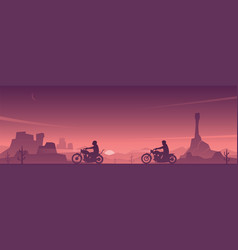 Motorcycle riders on a desert road scene vector
