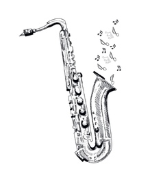 musical instrument saxophone on white background vector image