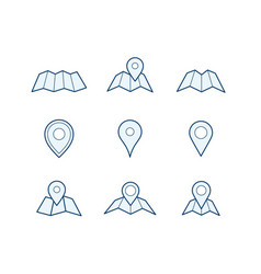 navigation map and pin icons vector image