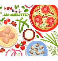 Omelette ingredients vector