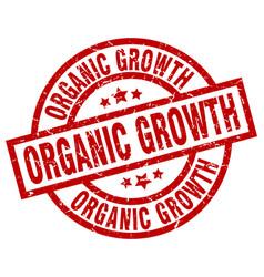 Organic growth round red grunge stamp vector