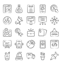 Pack web doodle icons vector