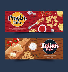 Pasta banner design with cheese cutting board vector