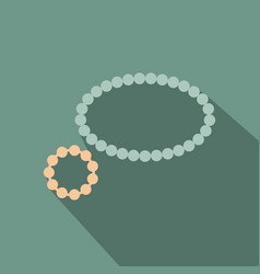 Pearl necklace icon in cartoon style isolated on vector