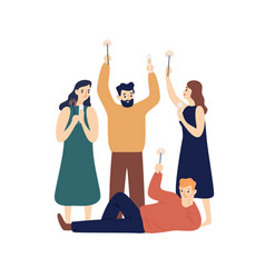 People celebrating new year flat vector