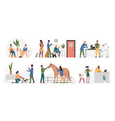 People with animals in veterinary office clinic vector