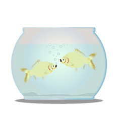 Pet goldfish bowl vector