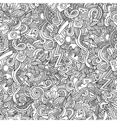 Photography doodles seamless pattern vector image