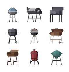 Portable grills set metal cooking equipment vector