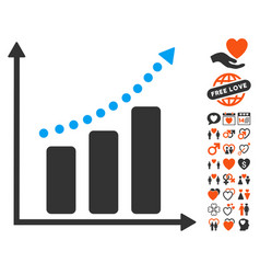 Positive trend icon with love bonus vector
