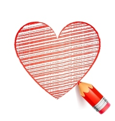 Red Pencil and Heart Drawing vector image vector image