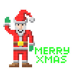 Retro pixel art christmas santa vector