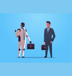 robot and human businessmen holding briefcases vector image