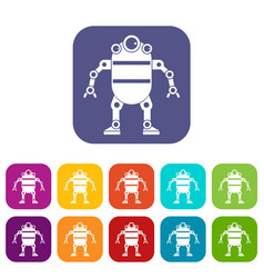 robot icons set flat vector image