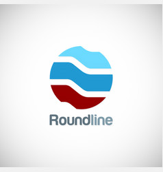 round line shape technology logo vector image