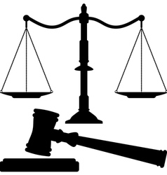 scales justice and gavel vector image