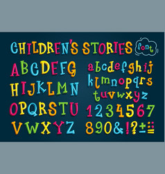 set colored font children stories vector image