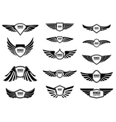 Set of blank emblems with wings design elements vector