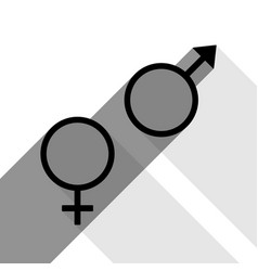 sex symbol sign black icon with two flat vector image