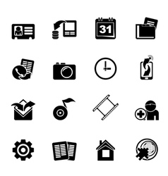 Silhouette Mobile phone menu icons vector image