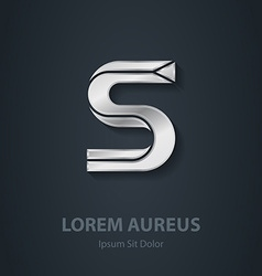 Silver Letter S elegant font Template for company vector image