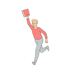 Sketch adult man running with book vector