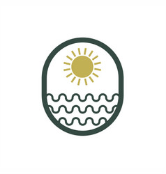 sun sea logo design vector image