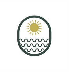 Sun sea logo design vector