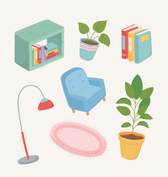 Sweet home sofa books potted plant lamp frame vector