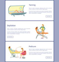 Tanning spa salon procedures pedicure set vector