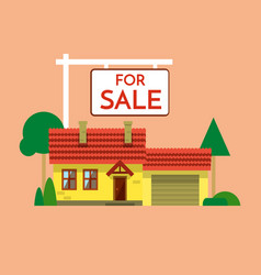 the house is sold the house and sign in the vector image