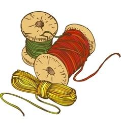 Three Color Spools of Thread vector
