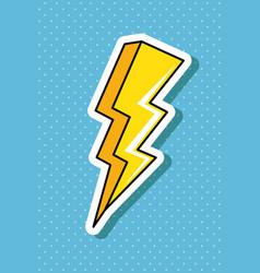 Thunderbolt pop art style icon vector