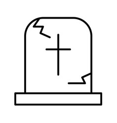Tombstone thin line icon grave web vector