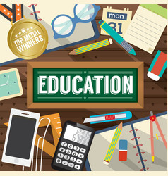 Top View Students Works Education Concept vector image