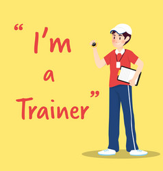 trainer character with clipboard and stopwatch vector image